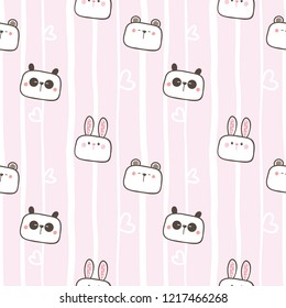Seamless Pattern of Cute Cartoon Bear, Panda and Bunny Face Design on Pastel Pink Background with White Lines