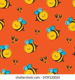 Seamless pattern with cute cartoon bee for fabric print, textile, gift wrapping paper. colorful vector for kids, flat style
