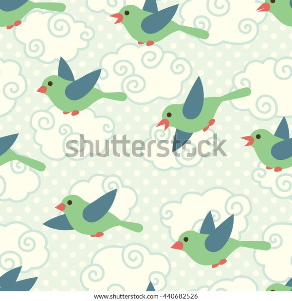 Seamless pattern with cute cartoon birds in the sky on blue dotted background. Art vector illustration.