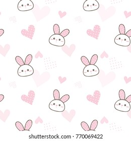Seamless Pattern of Cute Cartoon Bunny Face and Pastel Pink Heart Design on White Background