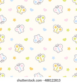 Seamless pattern with cute cartoon butterfly.