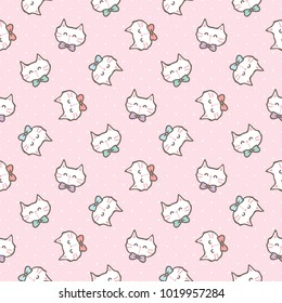 Seamless Pattern of Cute Cartoon Cat Face Design on Pink Background with Dots
