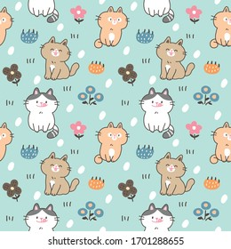 Seamless Pattern of Cute Cartoon Cat Design on Green Background