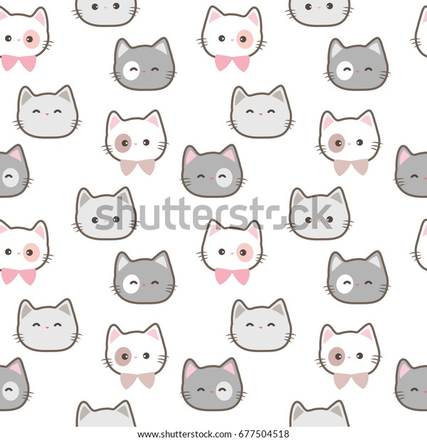 Seamless Pattern Cute Cartoon Cat Face Stock Vector Royalty Free