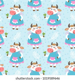 Seamless pattern with cute cartoon cow vector illustration