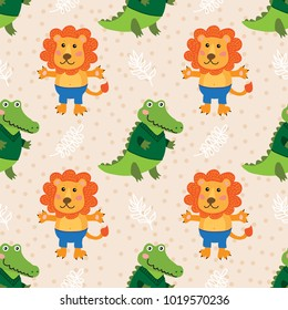 Seamless pattern with cute cartoon crocodile and lion vector illustration