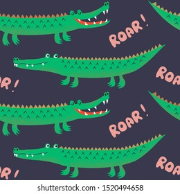 Seamless pattern with cute cartoon crocodiles, funny kids print. Vector hand drawn illustration for kids fabric, wrapping, textile.