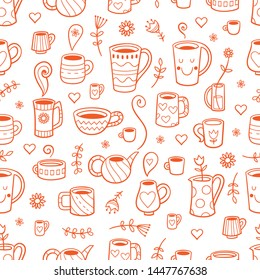 Seamless pattern with cute cartoon cups and plants on white background. A variety of dishes. Vector contour image.