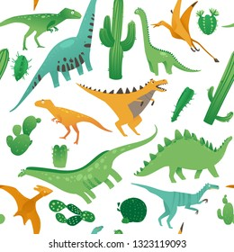 Seamless pattern with cute cartoon dinosaurs in flat style. Prehistorical dinosaurs and plants on a seamless pattern. Isolated vector illustration on white background.