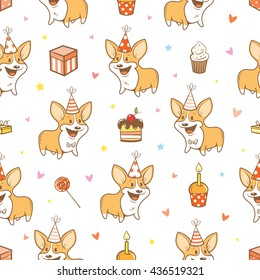 Seamless pattern with cute cartoon dogs breed Welsh Corgi Pembroke on  white  background.  Birthday gifts, balloons, sweets and party hats. Children's illustration. Vector little puppies.