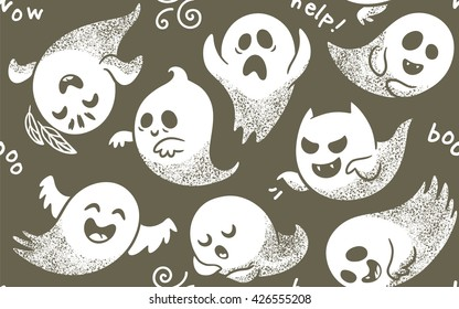 Seamless pattern of cute cartoon ghosts with different faces