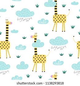 Seamless pattern with cute cartoon giraffe and clouds. Vector texture in doodle style great for fabric and textile, wallpapers, backgrounds. Scandinavian style.