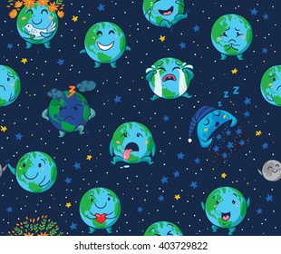Seamless pattern of cute cartoon globes with different emotions