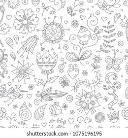 Seamless pattern with cute cartoon insects and birds on white  background. Flowers and plants of summer time. Vector contour doodle style image.