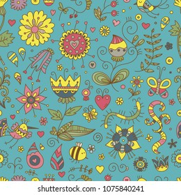 Seamless pattern with cute cartoon insects and birds on blue  background. Colorful flowers and plants of summer time. Vector contour doodle style image.