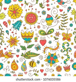 Seamless pattern with cute cartoon insects and birds on white  background. Colorful flowers and plants of summer time. Vector contour doodle style image.