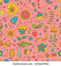 Seamless pattern with cute cartoon insects and birds on pink  background. Colorful flowers and plants of summer time. Vector contour doodle style image.