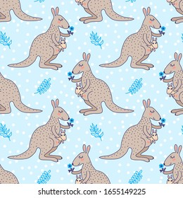 Seamless pattern with cute cartoon kangaroo with a baby and small flower, vector illustration