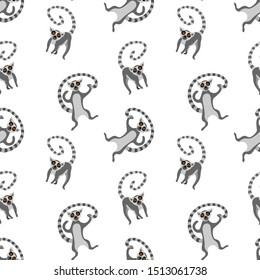 Seamless pattern with cute cartoon lemurs. Funny animals isolated on white background. Flat vector illustration.