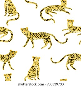Seamless pattern with cute cartoon leopards on the white background