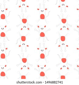 Seamless pattern with cute cartoon mice - symbol of the Chinese new year 2020. Art can be used for holiday packing.