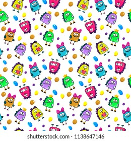 Seamless pattern of a cute cartoon monsters
