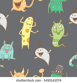 Seamless pattern with cute cartoon monsters on dark background. Doodle style.Vector contour image.