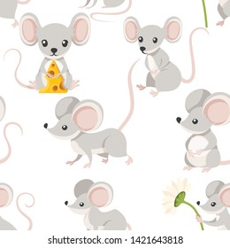 Seamless pattern of cute cartoon mouse . Funny little grey mouse collection. Emotion little animal. Cartoon animal character design. Flat vector illustration on white background