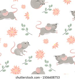 Seamless pattern with cute cartoon mouses in different poses with floral elements. Vector illustration.