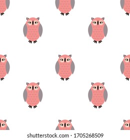 Seamless pattern with cute cartoon owl. Vector illustration on a flat style.