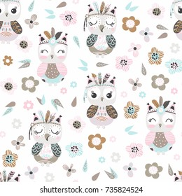 Seamless pattern with cute cartoon owls and flowers in pastel colors on a white background. Vector illustration.