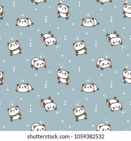 Seamless Pattern with Cute Cartoon Panda Design