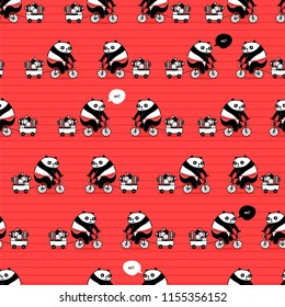 seamless pattern with cute cartoon panda riding bycicle for your design project, wallpaper, textile fabric or wrapping paper.  Truck with cactus and succulents.