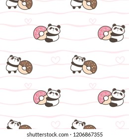 Seamless Pattern of Cute Cartoon Panda and Donut Design on White Background with Wavy Lines