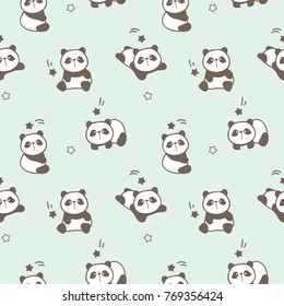 Seamless Pattern of Cute Cartoon Panda Design on Pale Green Background with Shooting Stars