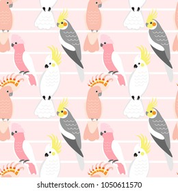 Seamless pattern with cute cartoon parrots