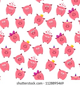 Seamless pattern of a cute cartoon  pigs set