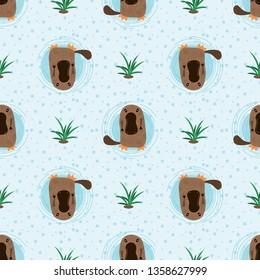 Seamless pattern with cute cartoon platypus vector illustration. Australian fauna