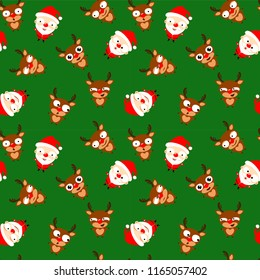 Seamless pattern of cute cartoon Santa Claus  and reindeer Rudolph on green  background. Christmas emoji. Vector illustration