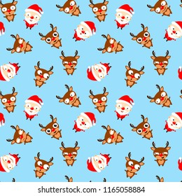Seamless pattern of cute cartoon Santa Claus  and reindeer Rudolph on blue background. Christmas emoji. Vector illustration