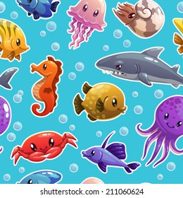 Seamless pattern with cute cartoon sea animals