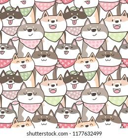 Seamless Pattern with Cute Cartoon Shiba Inu Dog Illustration Design