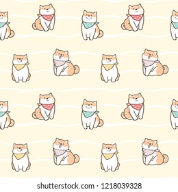 Seamless Pattern of Cute Cartoon Shiba Inu Design on Yellow Background with White Wavy Lines
