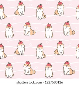 Seamless Pattern of Cute Cartoon Shiba Inu Dog with Apple Design on Pink Background with White Wavy Lines