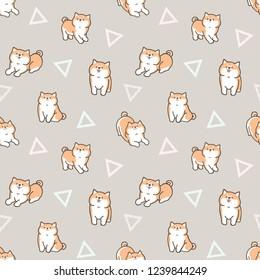 Seamless Pattern of Cute Cartoon Shiba Inu Dog Design on Warm Grey Background with Geometric Triangles