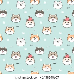Seamless Pattern of Cute Cartoon Shiba Inu Face Design on Pastel Green Background