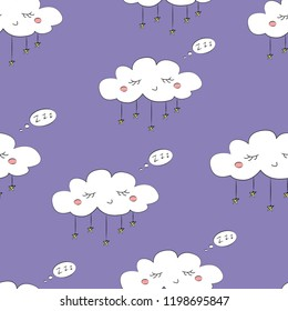 Seamless pattern with cute cartoon sleeping clouds and stars on a blue background