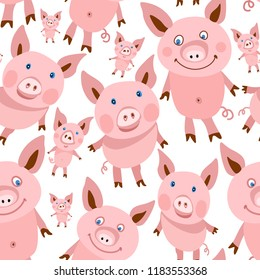 Seamless pattern from cute cartoon smiling pigs and piglets on white background. Flat style children's wallpaper, pink textile print for kids, wrapping paper with happy animals for Chinese New Year
