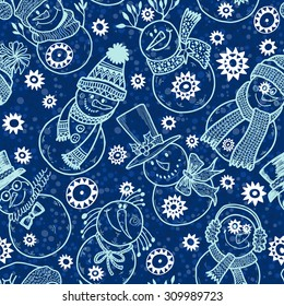 Seamless pattern with cute cartoon snowmen.  Vector illustration, holiday background.