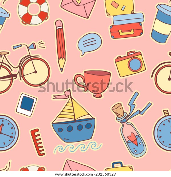 Seamless pattern with cute cartoon traveling elements on pink background